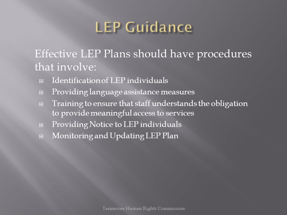 Effective LEP Plans should have procedures that involve:  Identification of LEP individuals  Providing language assistance measures  Training to ensure that staff understands the obligation to provide meaningful access to services  Providing Notice to LEP individuals  Monitoring and Updating LEP Plan Tennessee Human Rights Commission