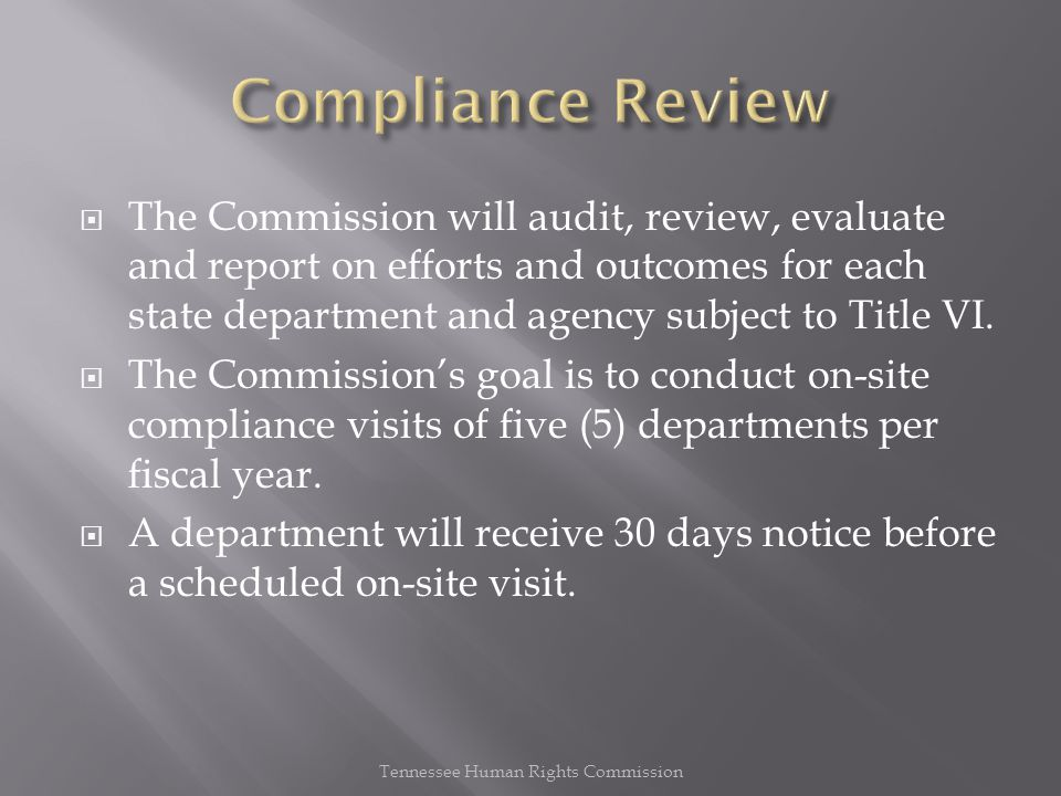  The Commission will audit, review, evaluate and report on efforts and outcomes for each state department and agency subject to Title VI.  The Commi