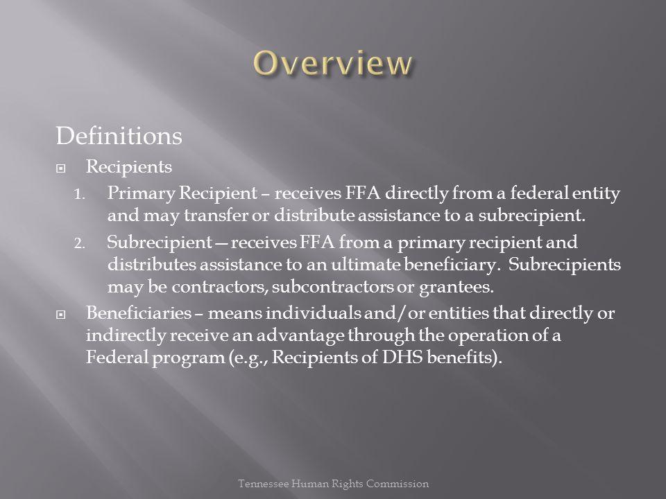 Definitions  Recipients 1.