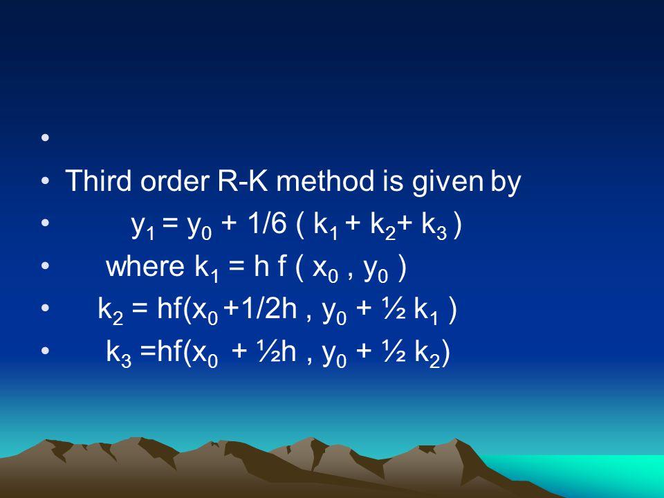 Third order R-K method is given by y 1 = y 0 + 1/6 ( k 1 + k 2 + k 3 ) where k 1 = h f ( x 0, y 0 ) k 2 = hf(x 0 +1/2h, y 0 + ½ k 1 ) k 3 =hf(x 0 + ½h