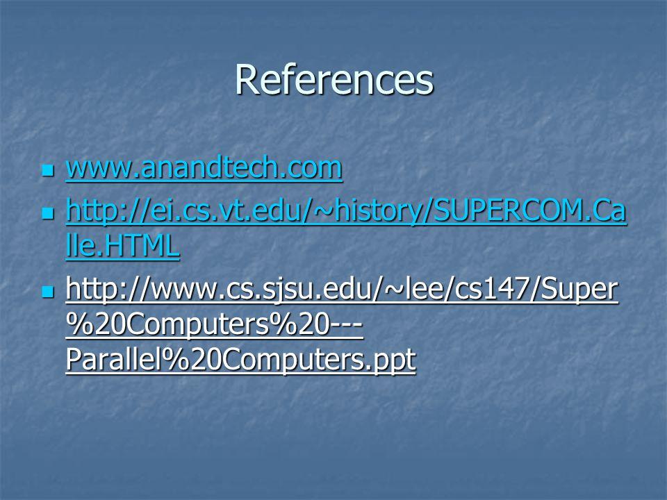 References www.anandtech.com www.anandtech.com www.anandtech.com http://ei.cs.vt.edu/~history/SUPERCOM.Ca lle.HTML http://ei.cs.vt.edu/~history/SUPERC