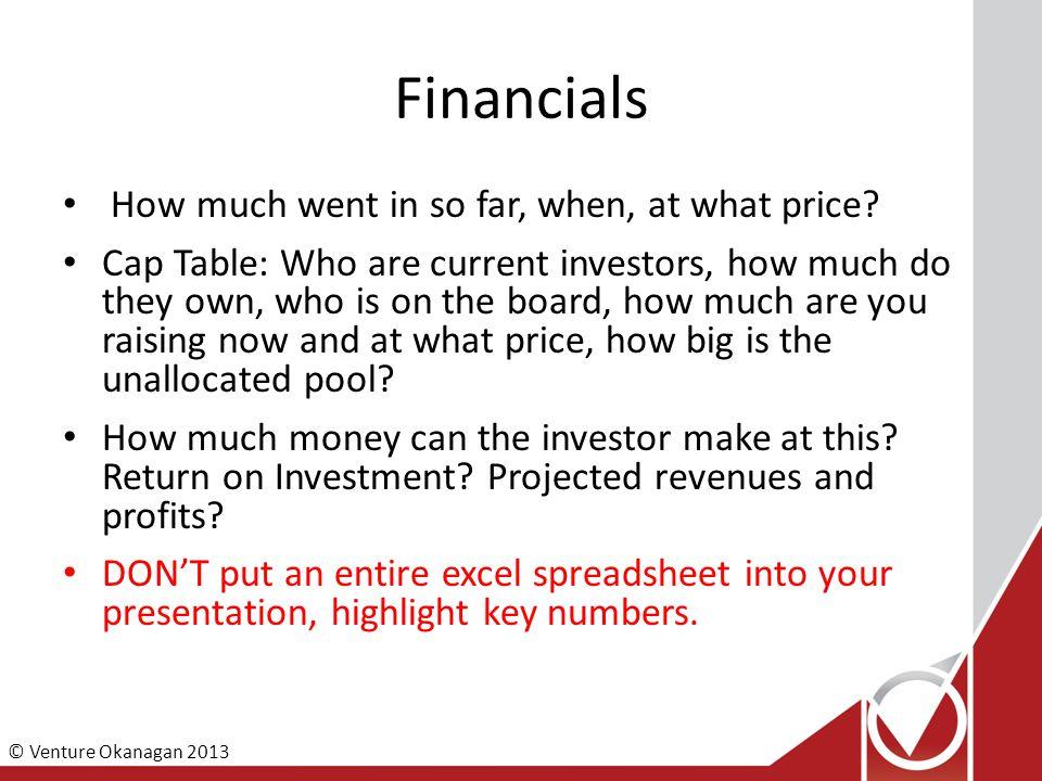 © Venture Okanagan 2013 Financials How much went in so far, when, at what price.