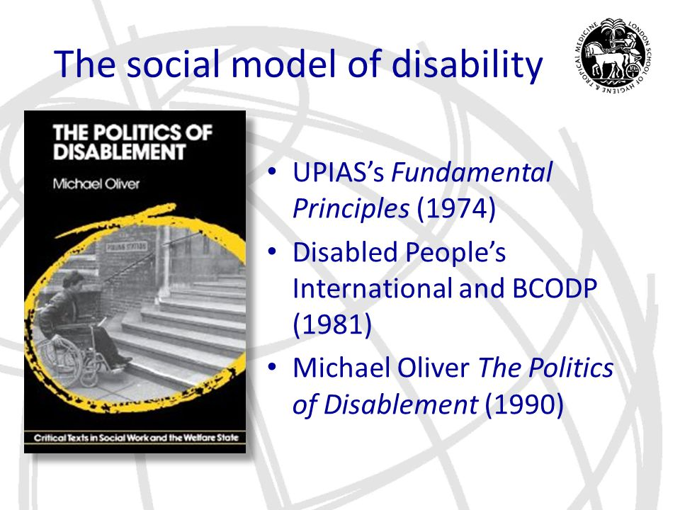 Medical Model Medical Condition ImpairmentHandicapDisability Adapted from ICIDH, WHO, 1980 Impairment – a functional limitation Disability – a social function that cannot be performed due to impairment Handicap – a social disadvantage suffered due to disability