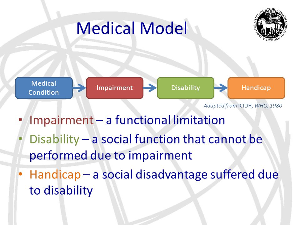 Medical Model Medical Condition ImpairmentHandicapDisability Adapted from ICIDH, WHO, 1980 Impairment – a functional limitation Disability – a social