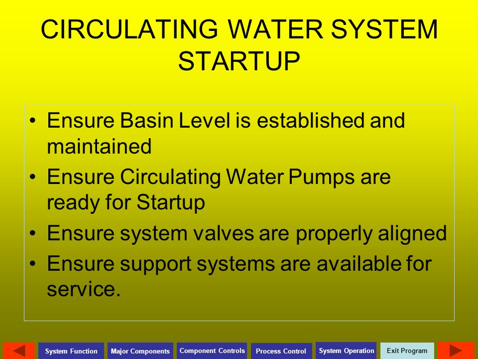 Exit Program Major Components Component Controls Process Control System Operation System Function CIRCULATING WATER SYSTEM STARTUP Ensure Basin Level