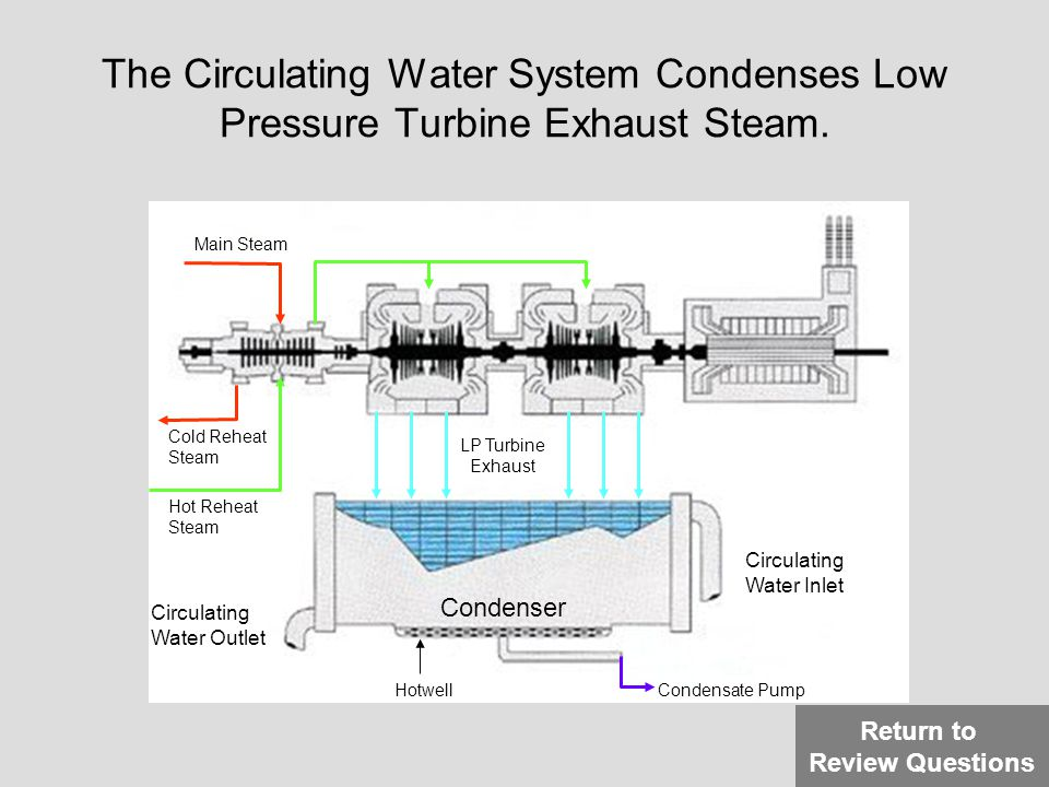 The Circulating Water System Condenses Low Pressure Turbine Exhaust Steam. Main Steam Cold Reheat Steam Hot Reheat Steam LP Turbine Exhaust Condenser