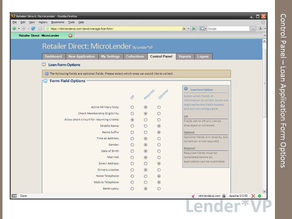 Lender*VP Control Panel – Loan Application Form Options