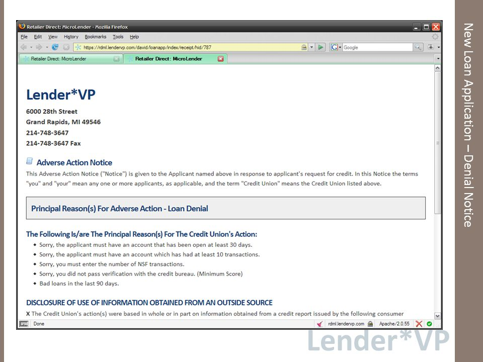 Lender*VP New Loan Application – Denial Notice