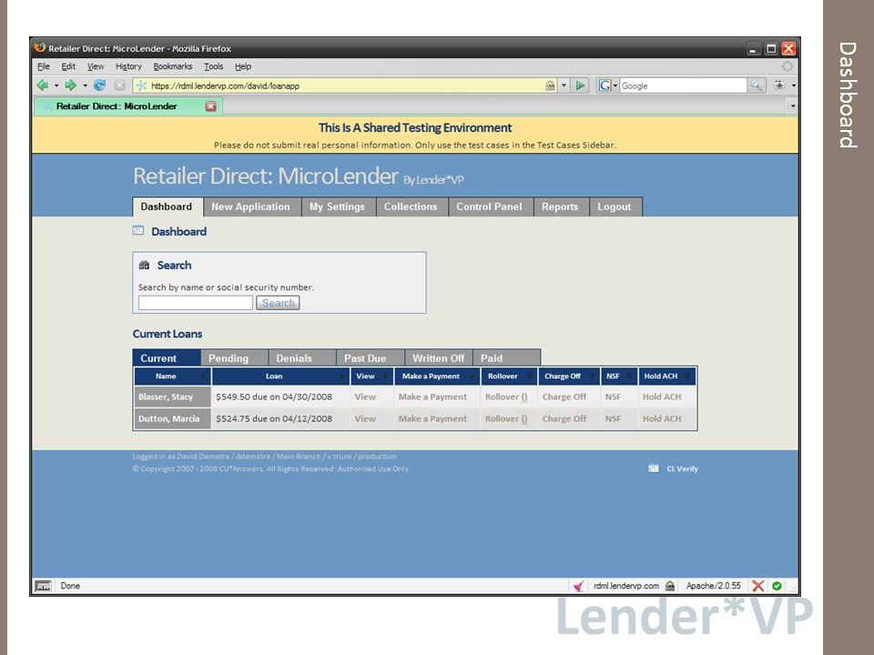 Lender*VP Dashboard