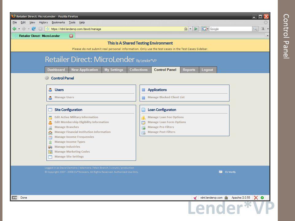 Lender*VP New Loan Application