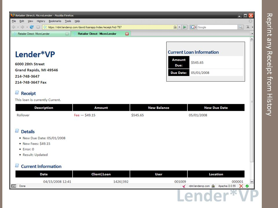 Lender*VP Reprint any Receipt from History