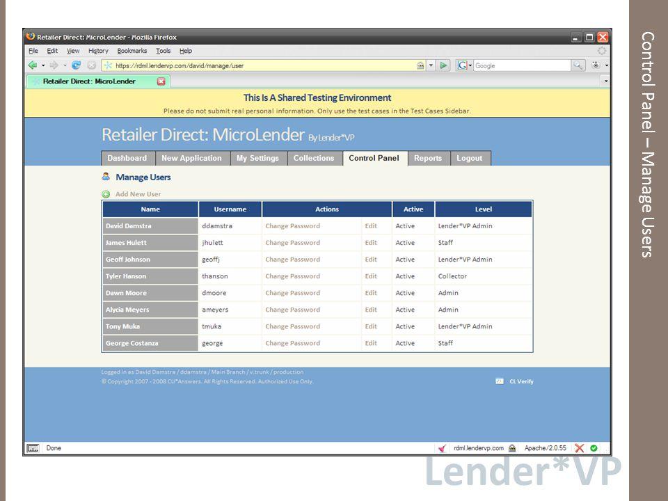 Lender*VP Control Panel – Rich Text Editors