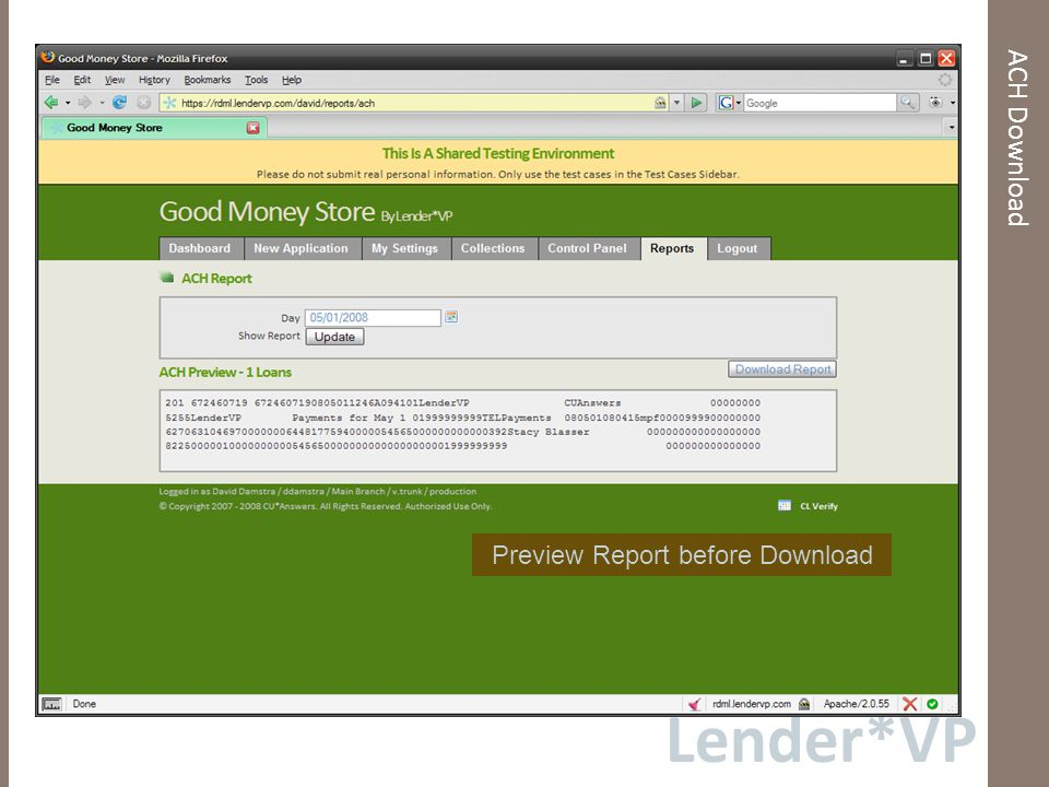 Lender*VP ACH Download Preview Report before Download