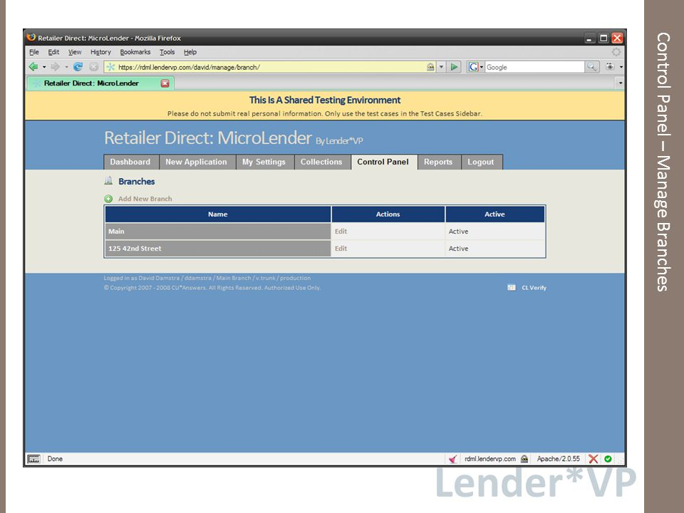 Lender*VP Control Panel – Manage Branches