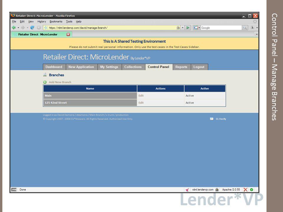 Lender*VP Control Panel – Marketing Codes