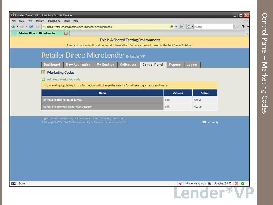 Lender*VP Control Panel – Loan Fee Options