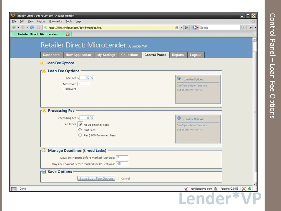 Lender*VP Control Panel – Loan Fee Options