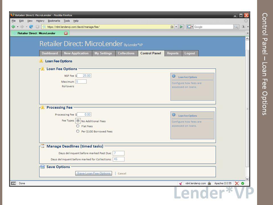 Lender*VP Control Panel – Flat Fees