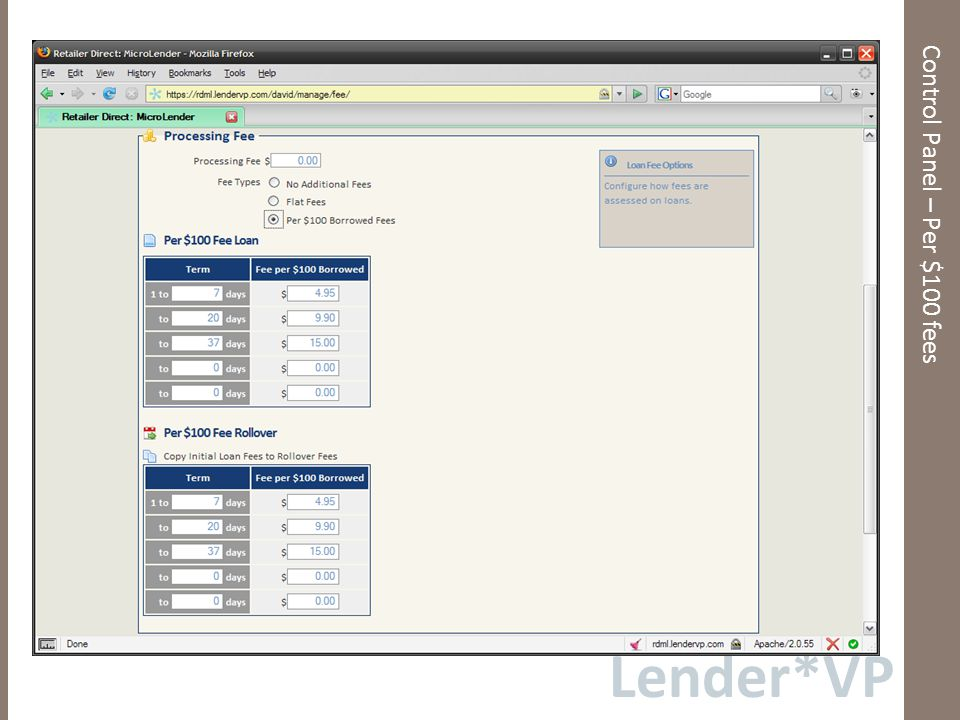 Lender*VP Control Panel – Per $100 fees