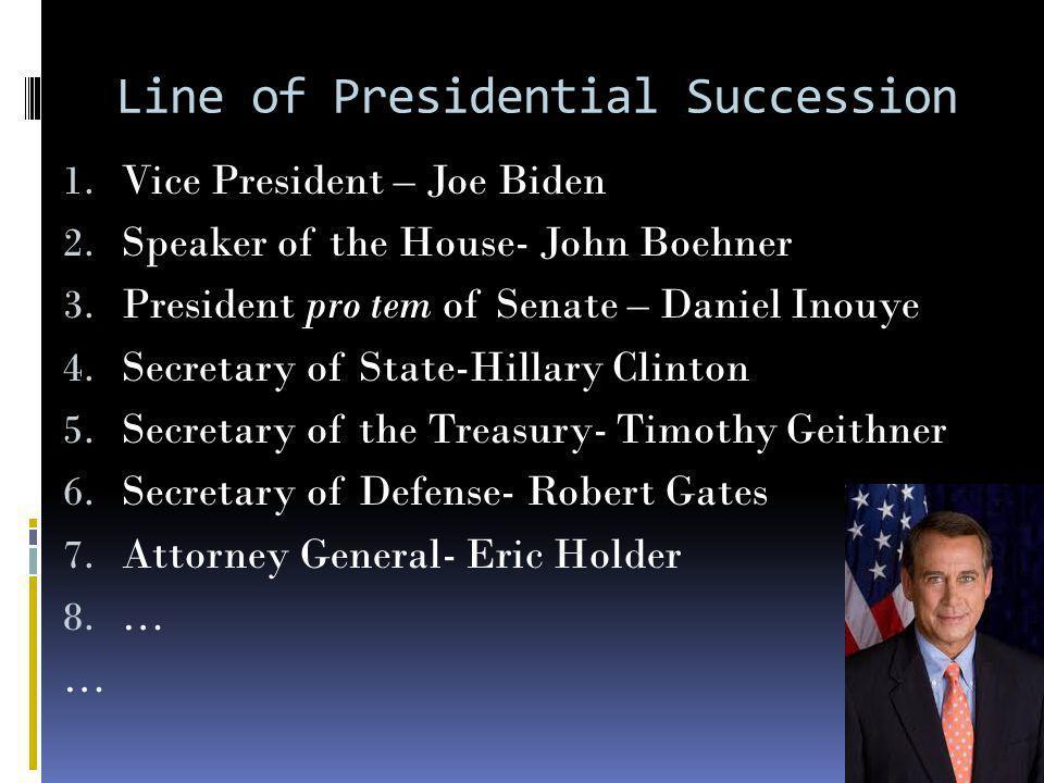 Line of Presidential Succession 1. Vice President – Joe Biden 2.