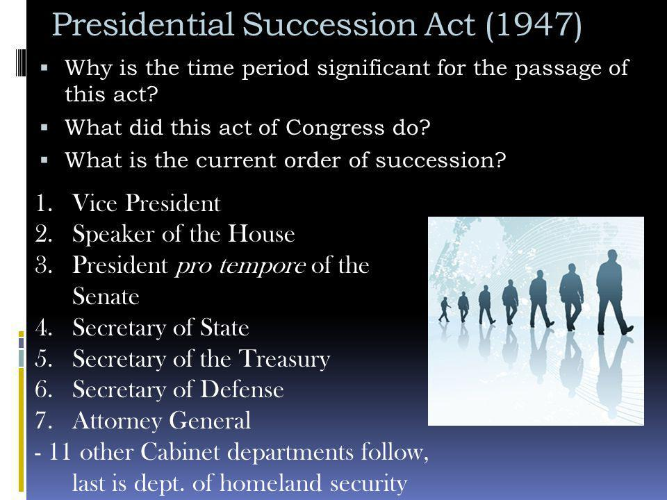 Presidential Succession Act (1947)  Why is the time period significant for the passage of this act.