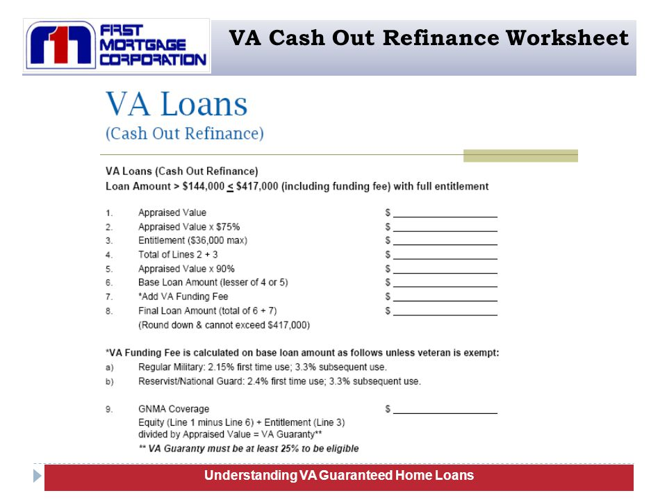 101 Understanding VA Guaranteed Home Loans VA Cash Out Refinance Worksheet