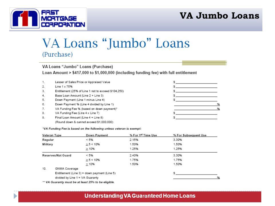 Understanding VA Guaranteed Home Loans VA Jumbo Loans