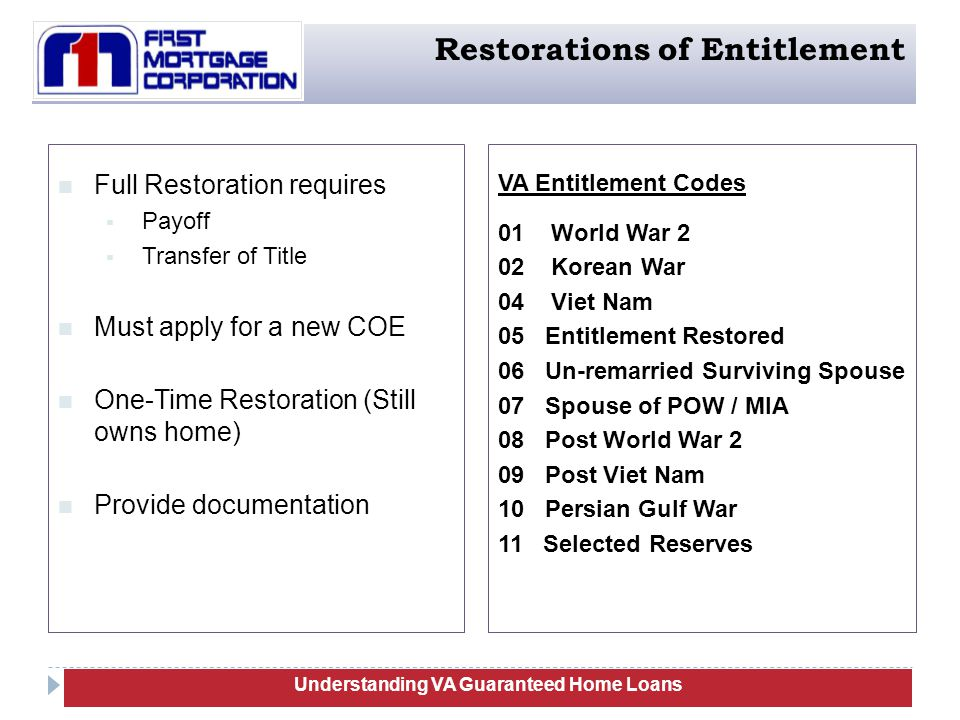 27 Full Restoration requires  Payoff  Transfer of Title Must apply for a new COE One-Time Restoration (Still owns home) Provide documentation Understanding VA Guaranteed Home Loans Restorations of Entitlement VA Entitlement Codes 01 World War 2 02 Korean War 04 Viet Nam 05 Entitlement Restored 06 Un-remarried Surviving Spouse 07 Spouse of POW / MIA 08 Post World War 2 09 Post Viet Nam 10 Persian Gulf War 11 Selected Reserves