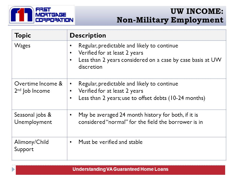 TopicDescription Wages Regular, predictable and likely to continue Verified for at least 2 years Less than 2 years considered on a case by case basis at UW discretion Overtime Income & 2 nd Job Income Regular, predictable and likely to continue Verified for at least 2 years Less than 2 years; use to offset debts (10-24 months) Seasonal jobs & Unemployment May be averaged 24 month history for both, if it is considered normal for the field the borrower is in Alimony/Child Support Must be verified and stable Understanding Manufactured Homes Understanding VA Guaranteed Home Loans UW INCOME: Non-Military Employment
