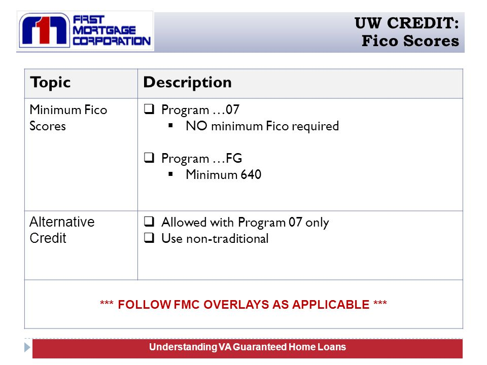 Understanding Manufactured Homes Understanding VA Guaranteed Home Loans UW CREDIT: Fico Scores TopicDescription Minimum Fico Scores  Program …07  NO minimum Fico required  Program …FG  Minimum 640 Alternative Credit  Allowed with Program 07 only  Use non-traditional *** FOLLOW FMC OVERLAYS AS APPLICABLE ***