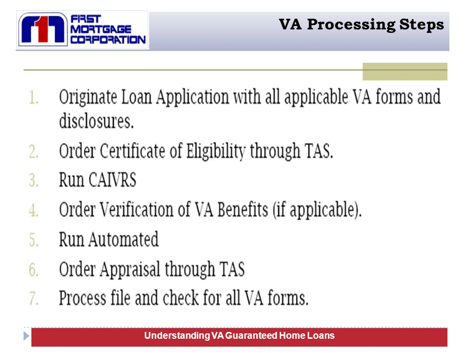 94 Understanding VA Guaranteed Home Loans VA Processing Steps