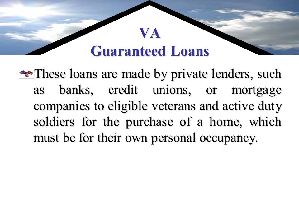 How the Housing Assistance Program Works The VHAP is not a refinancing program.