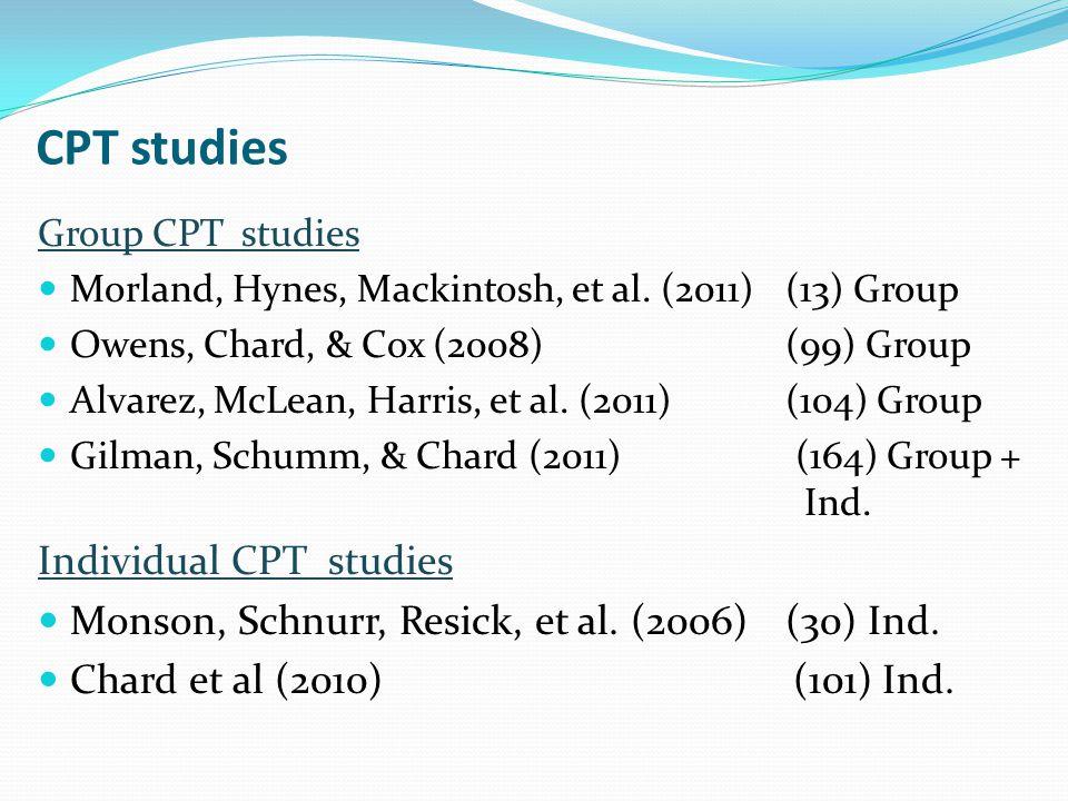 CPT studies Group CPT studies Morland, Hynes, Mackintosh, et al.