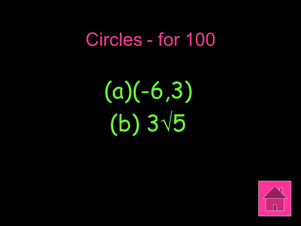 Circles - for 100 (a)(-6,3) (b) 3  5