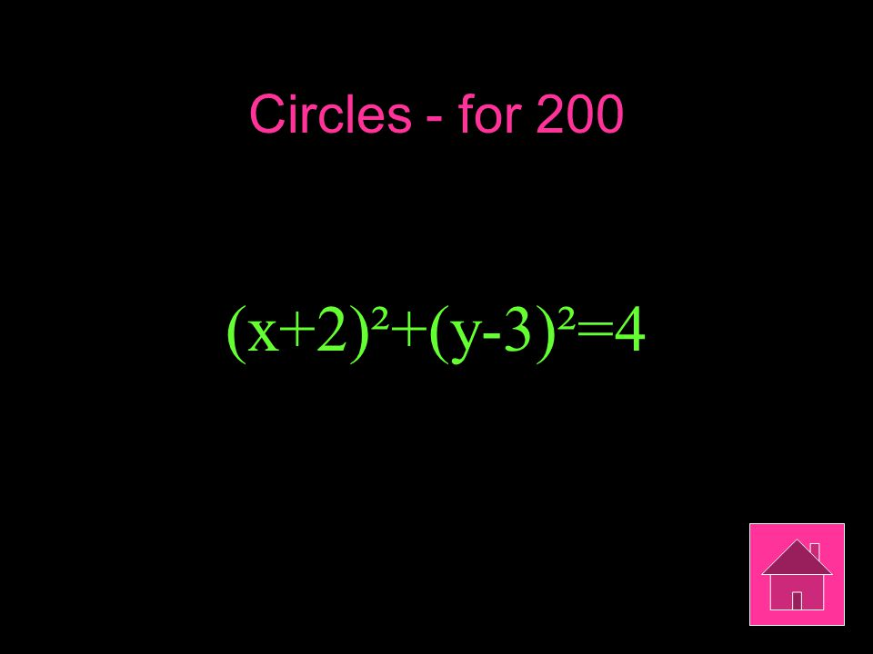 Circles - for 200 (x+2)²+(y-3)²=4