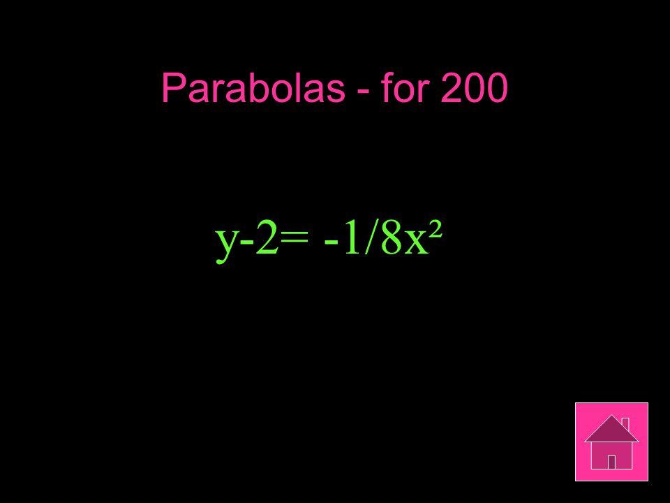 Parabolas - for 200 y-2= -1/8x²