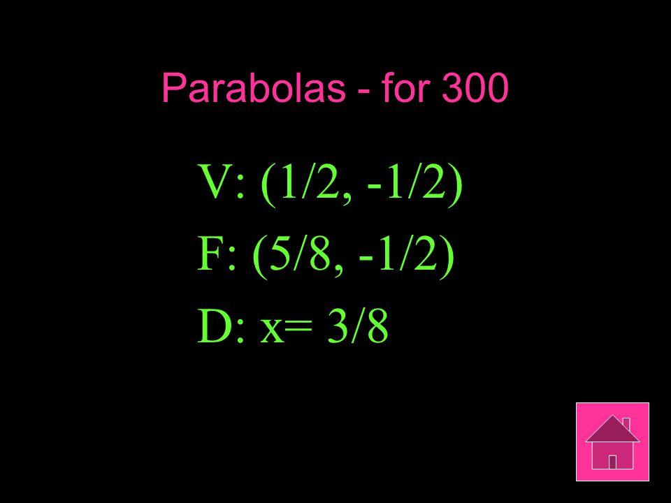 Parabolas - for 300 V: (1/2, -1/2) F: (5/8, -1/2) D: x= 3/8