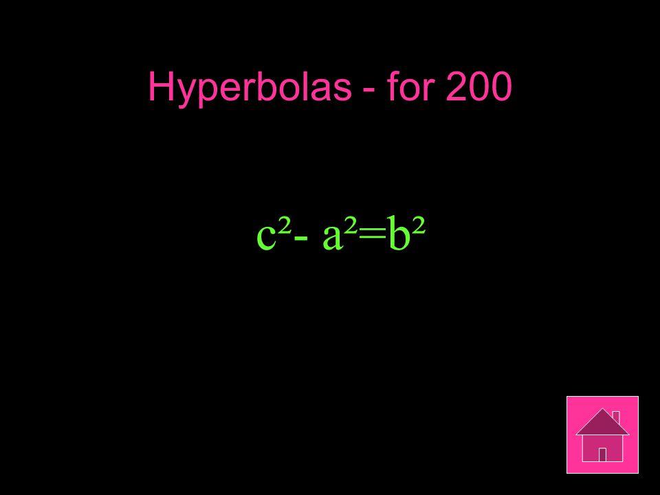 Hyperbolas - for 200 c²- a²=b²