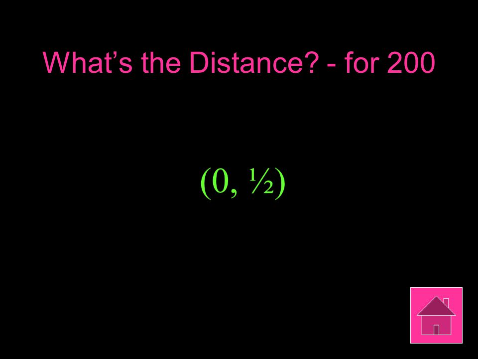 What's the Distance - for 200 (0, ½)