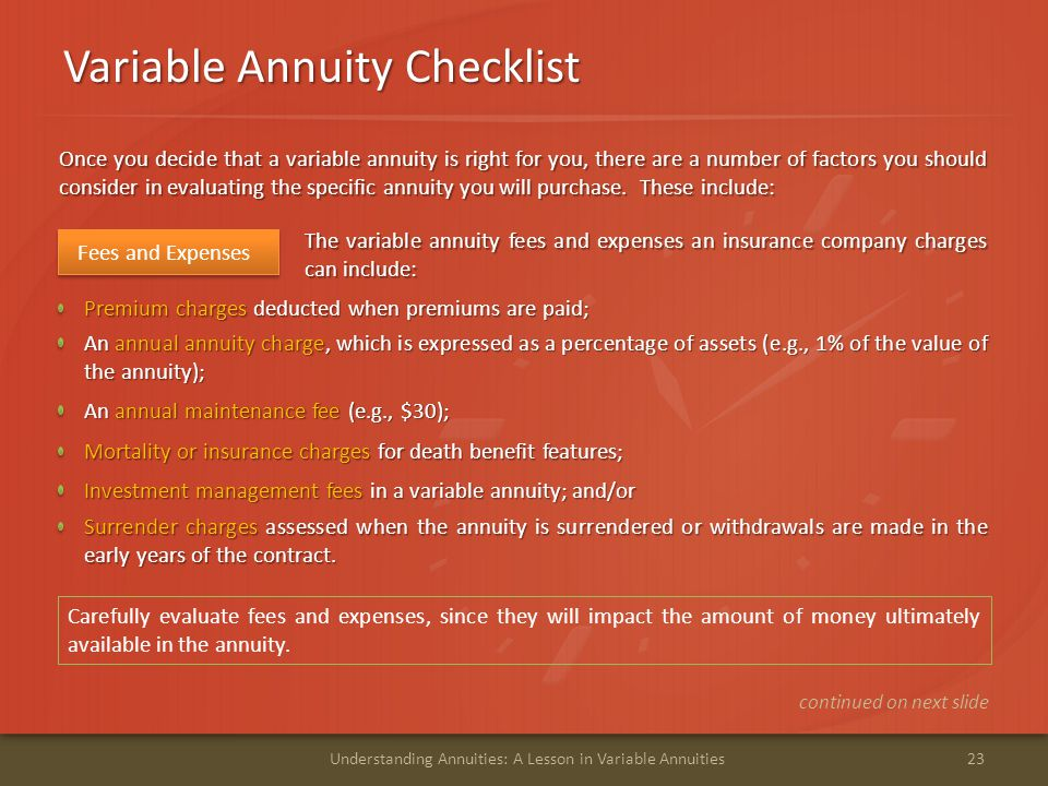Variable Annuity Checklist 23Understanding Annuities: A Lesson in Variable Annuities An annual annuity charge, which is expressed as a percentage of a