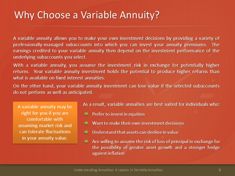 Why Choose a Variable Annuity? 8Understanding Annuities: A Lesson in Variable Annuities A variable annuity allows you to make your own investment deci