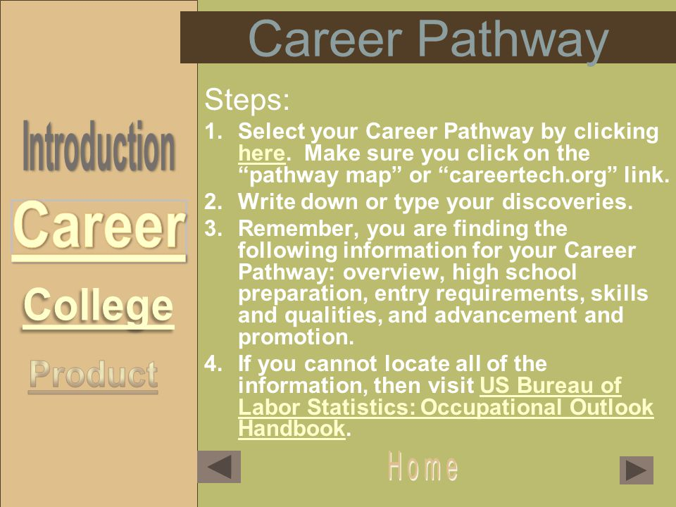 Career Pathway Steps: 1.Select your Career Pathway by clicking here.