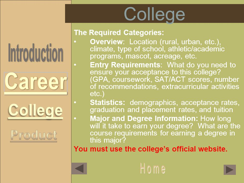 College The Required Categories: Overview: Location (rural, urban, etc.), climate, type of school, athletic/academic programs, mascot, acreage, etc.