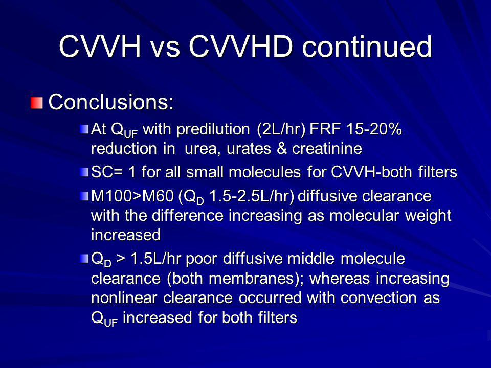 CVVH vs CVVHD continued No additive effect with combination dialysate & FRF therapy for middle molecule clearance Authors conclude: – Convection more efficient than diffusion in removing mixed- molecular- weight solutes during CRRT