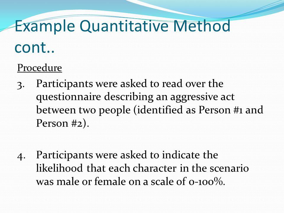 Example Quantitative Method cont..