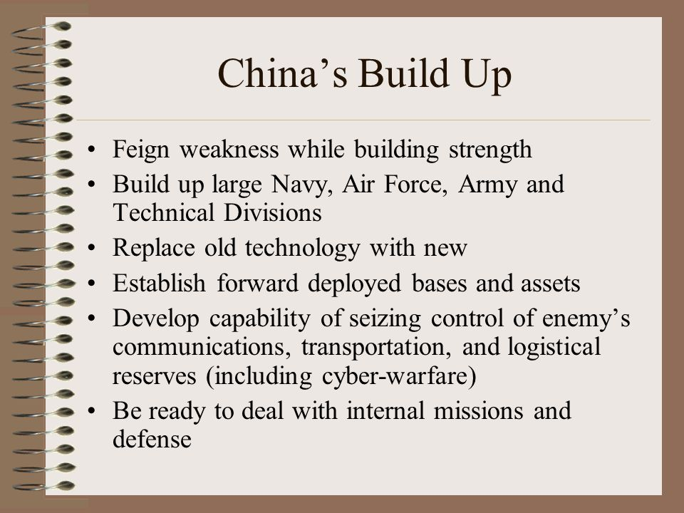 China's Build Up Feign weakness while building strength Build up large Navy, Air Force, Army and Technical Divisions Replace old technology with new E