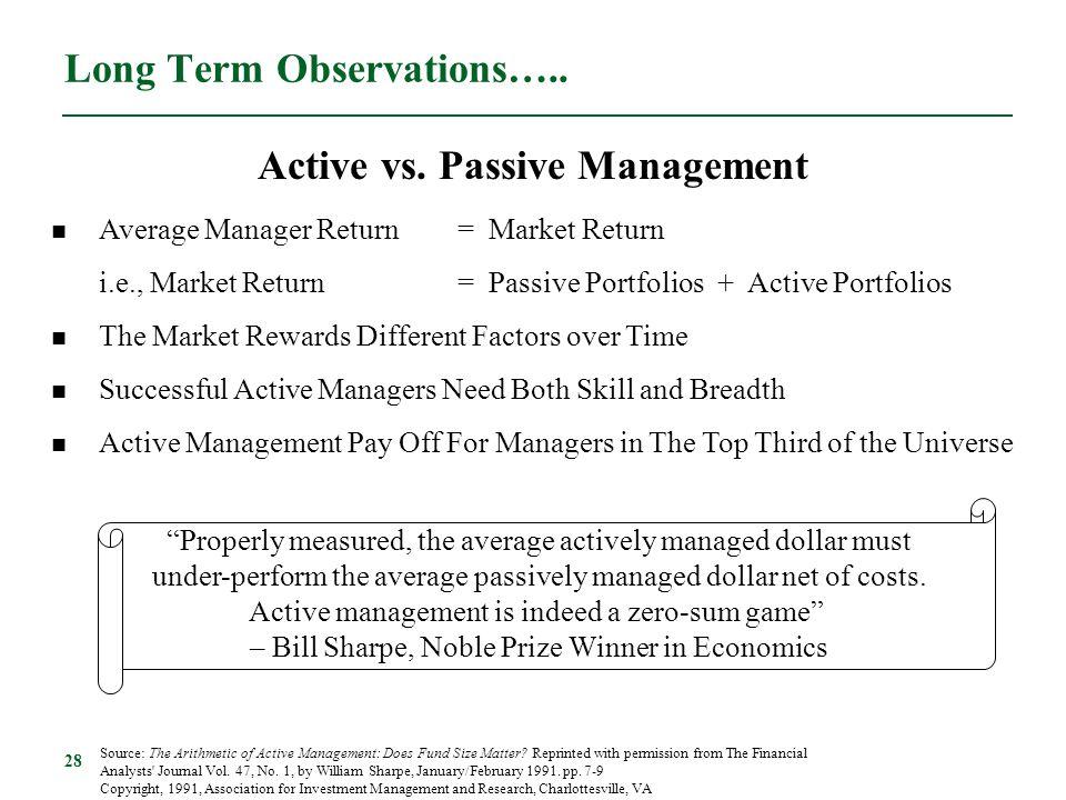 28 Long Term Observations….. Average Manager Return= Market Return i.e., Market Return= Passive Portfolios + Active Portfolios The Market Rewards Diff