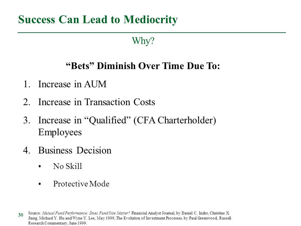 """30 Success Can Lead to Mediocrity Why? """"Bets"""" Diminish Over Time Due To: 1.Increase in AUM 2.Increase in Transaction Costs 3.Increase in """"Qualified"""" ("""