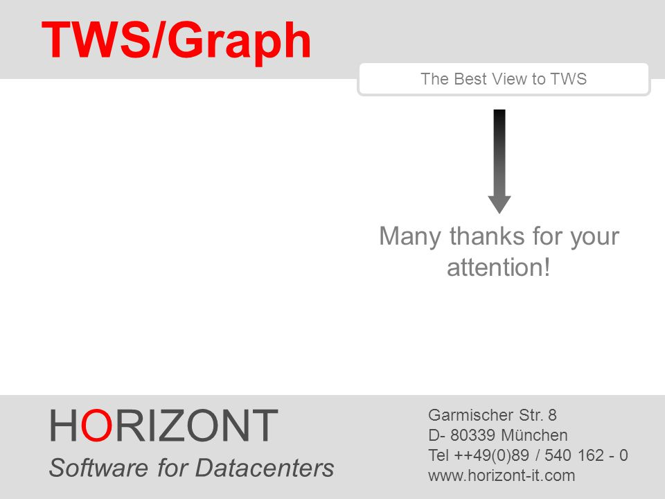 HORIZONT 14 TWS/Graph HORIZONT Software for Datacenters Garmischer Str.