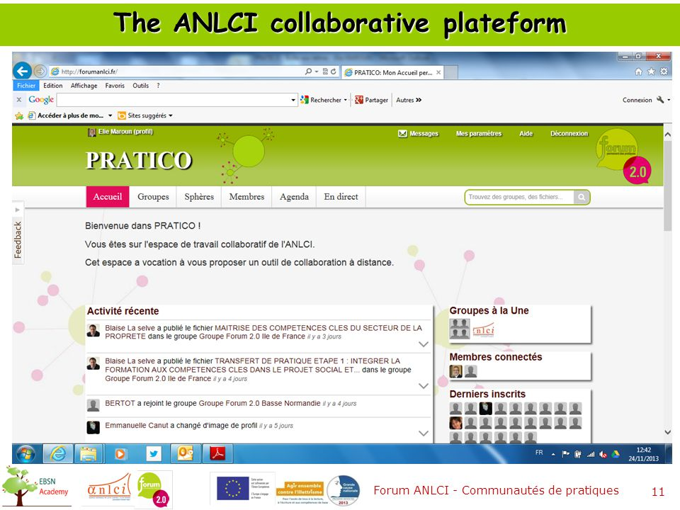The ANLCI collaborative plateform Forum ANLCI - Communautés de pratiques 11